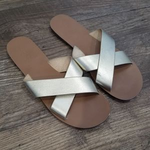 J. Crew Gold Strappy Slide Sandals